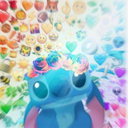 notfreetoedit stich emoji rainbow flare freetoedit