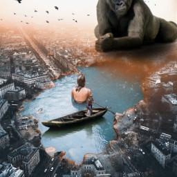 freetoedit gorilla city sea water girl
