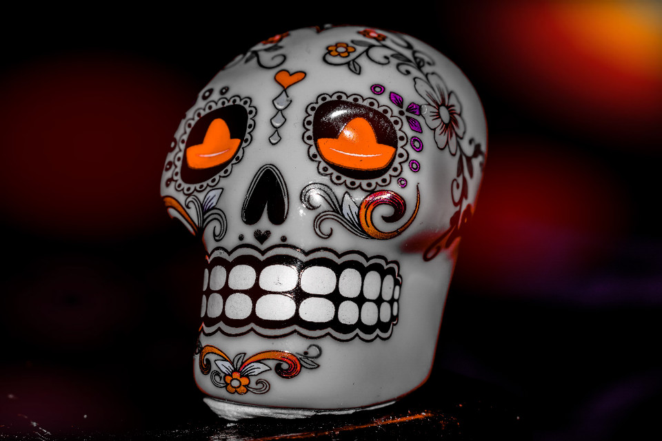 #diadelosmuertos #dayofthedead #photography #myphoto #colorsplash #skull #darkart #dark #bokeh