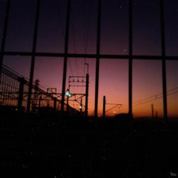 aftersunset sundown trainstation skyline art freetoedit