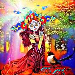 freetoedit diadelosmuertos birds woman forest ecskullseverywhere