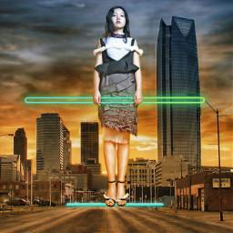freetoedit levitation girl 4asno4i neon ftestickers