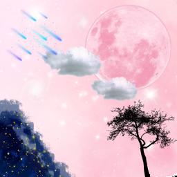 freetoedit stars moon treesilhouette pink