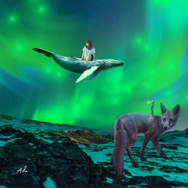 Imagination is far better than reality 😌   #freetoedit #wolf#girl#whale#auroraborealis