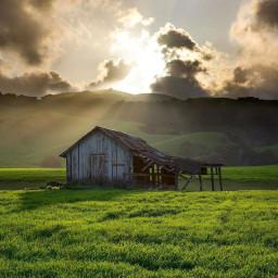freetoedit sunrays clouds hut greenery