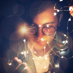 freetoedit fairylights boy man interesting