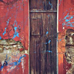 abandonedplaces urbanexploration oldhouse abandoned forgotten decay woodendoor grungetexturedwall boldcolors inksplashes urbandecay urbexworld decadentbeauty urbanabstractphotography freetoedit