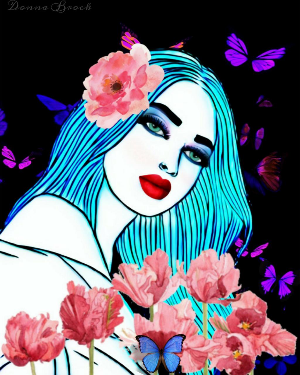 STRIKE A POSE. ...   #woman #pose  #freetoedit. #girl #drawing #flowers #flower. #butterflies. #butterfly  #ircpose