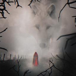 freetoedit surreal redridinghood wolf animal scary