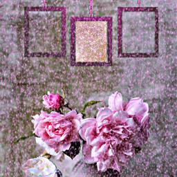 freetoedit remixed pink flowers wallart