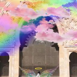 freetoedit rainbow cloud halo angel ircwalkingby walkingby