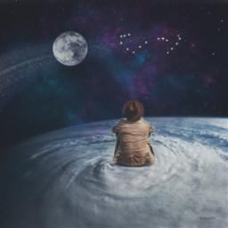 freetoedit PicsArtReplay doubleexposure clouds sky scorpiolife scorpio galaxy moon