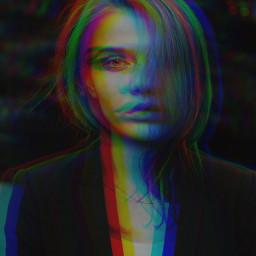 freetoedit glitch glitcheffect girl portrait madewithpicsart replay remixit