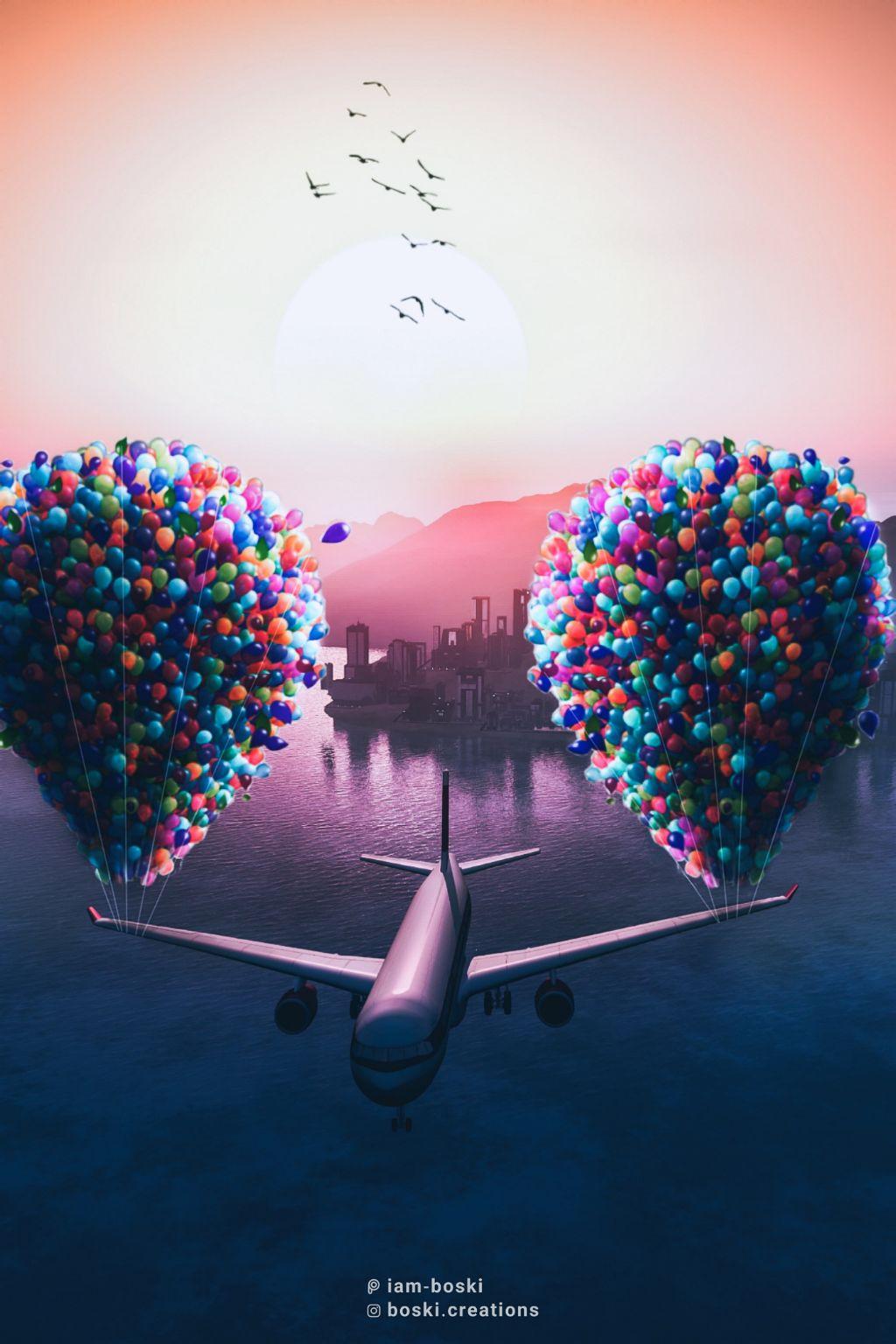 Fly me ✈️    Image source: Pexels     #freetoedit #editedbyme #editedwithpicsart #aeroplane #birds #sea #surrealism #balloons #toolazytoputhashtags