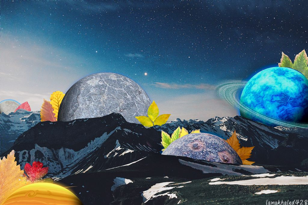 #freetoedit #remixit #space #mountain #sky #stars #clouds #galaxy #Universe #saturn #blue  #plants #planet #leaves #Leave #edit #myedit #remix  #hopeyoulikeit
