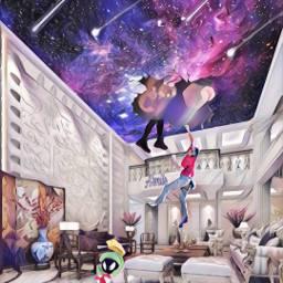 freetoedit @asweetsmile1 house galaxy shootingstars