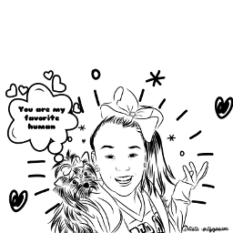 freetoedit remixit mydrawing fotoedit longhair girl sketch outline motivation flowers stickers inspiration dog smile favorite jojosiwa