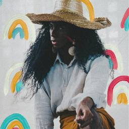 freetoedit girl hat hair drawing
