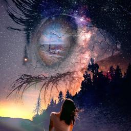 freetoedit doubleexposure eye girl longing