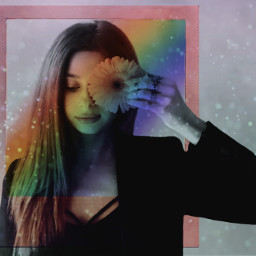 freetoedit rainbow frame colors people ircgirlwithaflower girlwithaflower