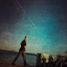 blurred street oneman sky blue