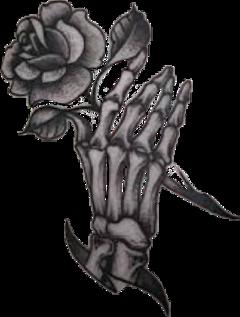 rose tattoo skeleton hand blackandwhite freetoedit