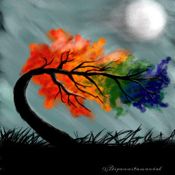 freetoedit mydrawing tree moon sky dcalonelytree