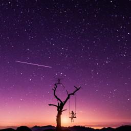 freetoedit background girl sky women tree mountain nature remix star stars night galaxy sunlight sunset swing creative visual surreal