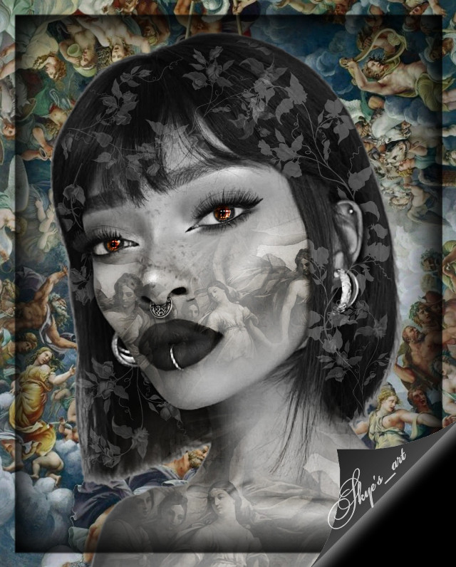 #freetoedit  Cherub background & blending stickers in my sticker collection 😁 featuring Nyané, my fav female ig model ❤
