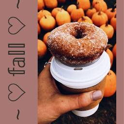 freetoedit fall aesthetic orange donut