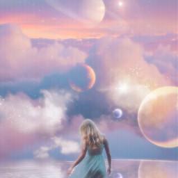 sky clouds planets girl water myedit myart madewithpicsart freetoedit
