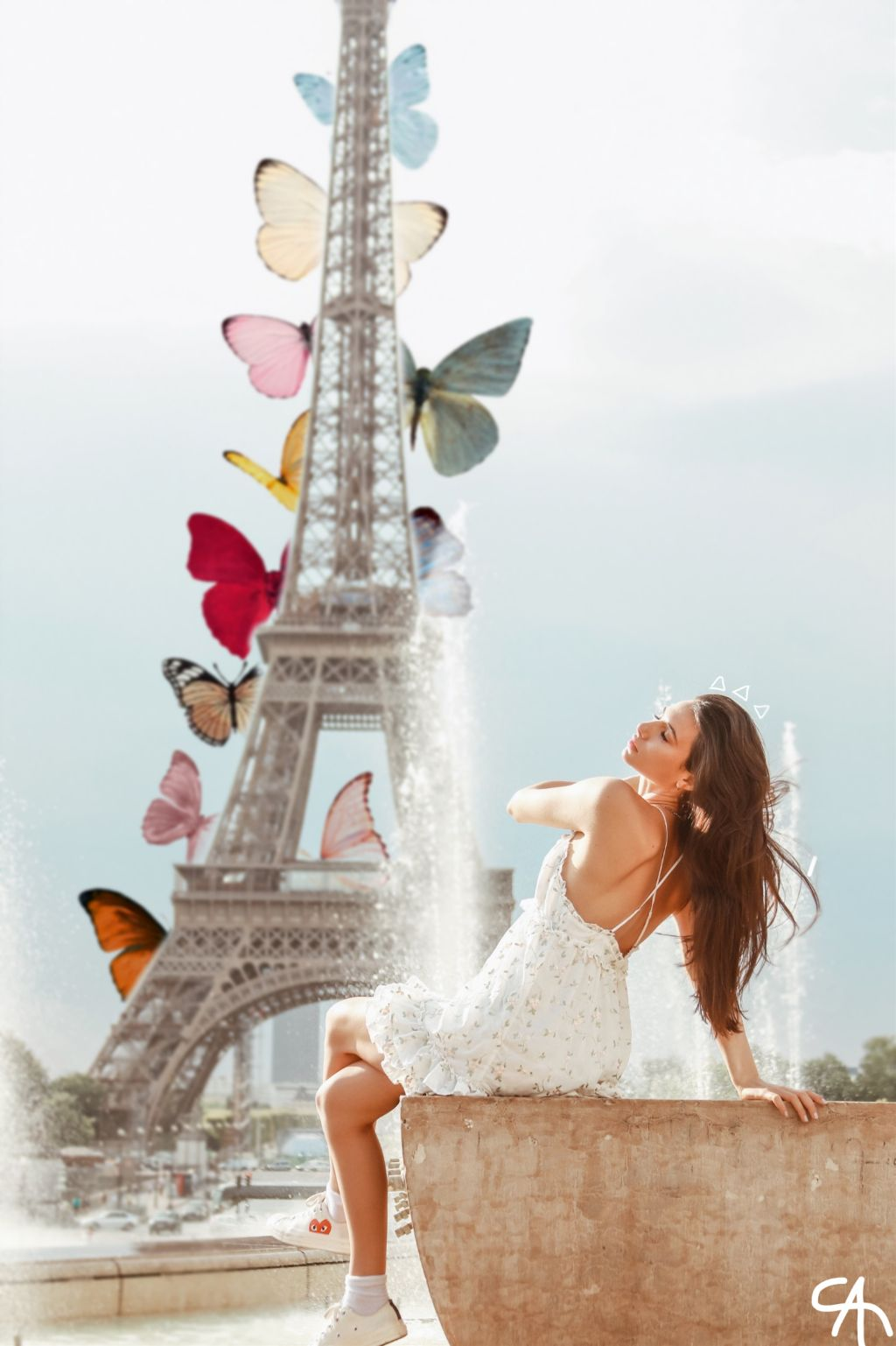 #freetoedit #remixit #girl #paris #eiffeltower #butterfly #butterflies #color #draw #line #lines #white #triangles #water