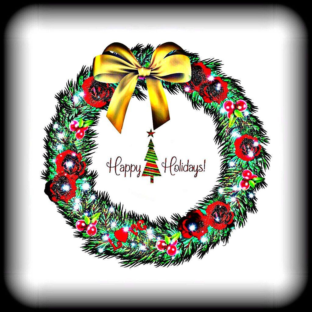 #freetoedit #wreath #bow #art #vignetteeffect #hdreffect #christmas #happyholidays #text