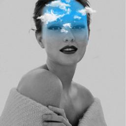 freetoedit girl clouds sky blue