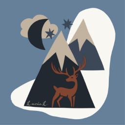 wonderland deer mountains abstractart snow freetoedit
