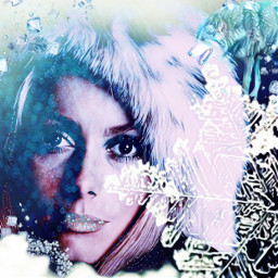freetoedit ice snowflake woman wolf