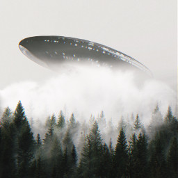 ufo spaceship forest sky green freetoedit