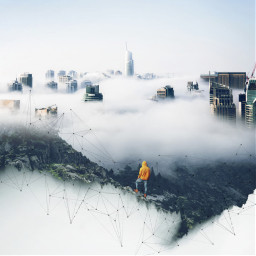 freetoedit city foggy forest doubleexposure