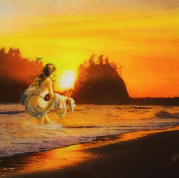 freetoedit sunset ocean woman classical