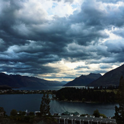 mountains ocean clouds sky water freetoedit pcgloomyweather gloomyweather
