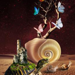 freetoedit turtle butterflies fantasy art