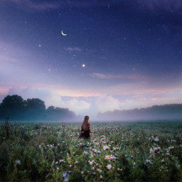 freetoedit background clouds cloud sky star stars moon smoke fog remix mountain nature galaxy planet girl trees forest flowers creativity creative visual surreal colorful colorfulsky