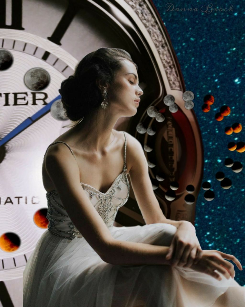 TIME KEEPS ALL THINGS ... GOOD AND BAD  MOON CYCLE ...   #moons #clock #clocks #woman #night  #freetoedit  #srcmooncycle #mooncycle