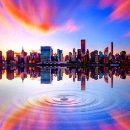 skyline reflection beautiful