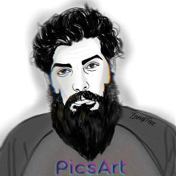 freetoedit bearded man drawing faceart