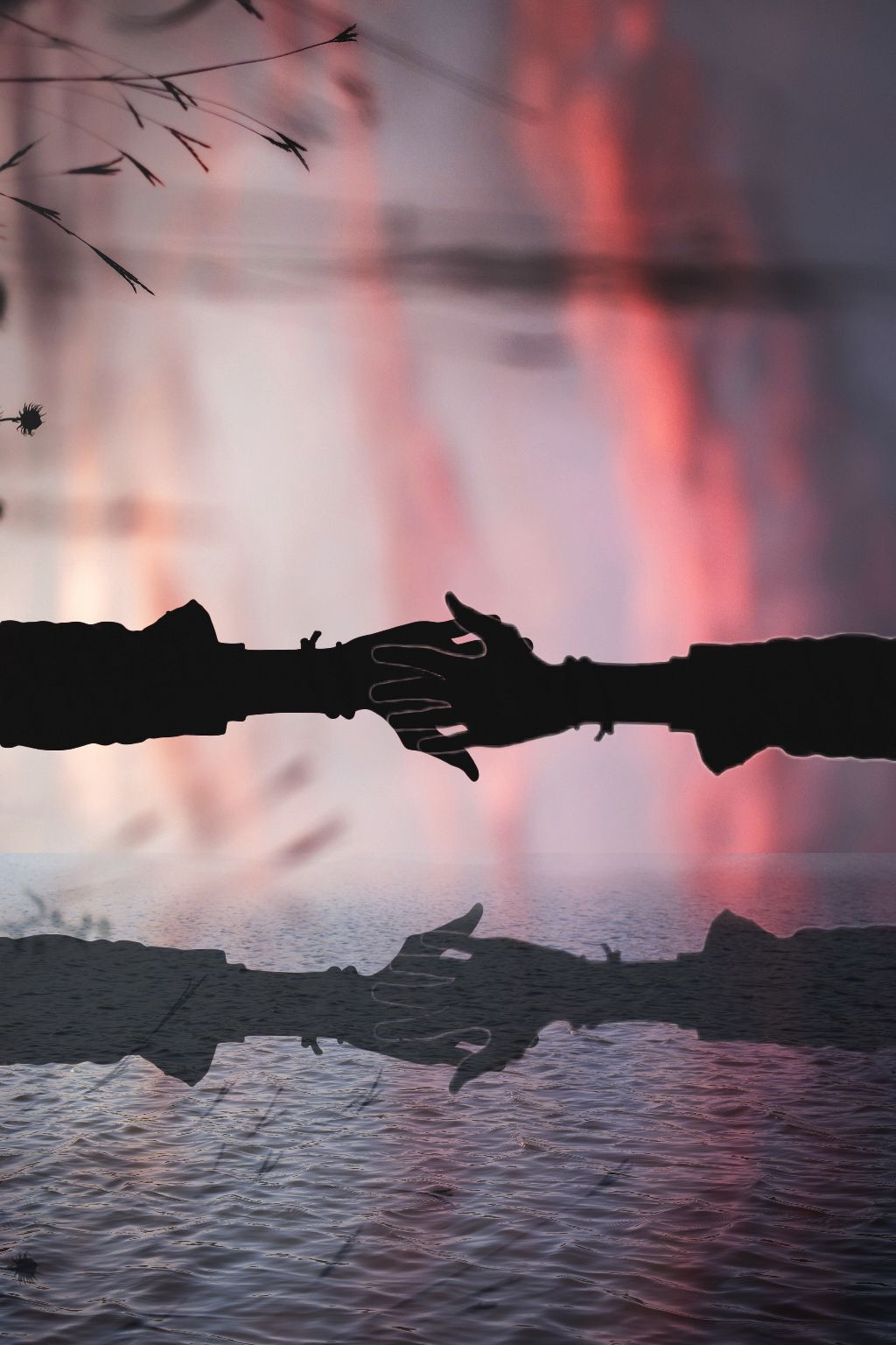 #freetoedit #reflection #hands #holdinghands #wow #river #lake #water #cool  #irchandsilhouette #handsilhouette