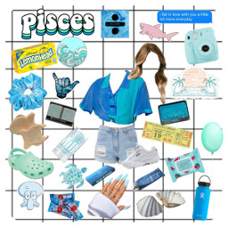 pisces zodiac blue yellow aesthetic freetoedit