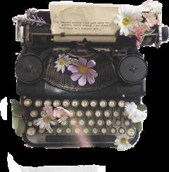 typewriter daktilo vintage retro flower freetoedit