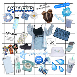 aquarius zodiac aesthetic blue freetoedit