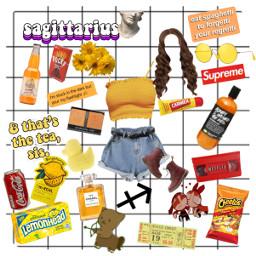 sagittarius zodiac aesthetic yellow freetoedit